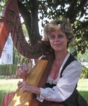 Emily Reid plays double celtic harp